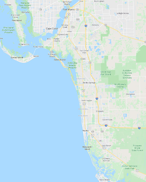 Service Area Map | Amherst Roofing Naples Florida